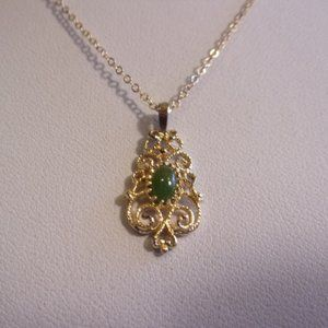 Jade Filigree Pendant Necklace Gold Filled Chain